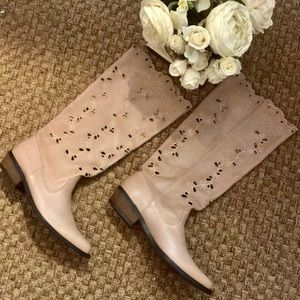 Lucky brand Laser cut Sand dream Nappa boots